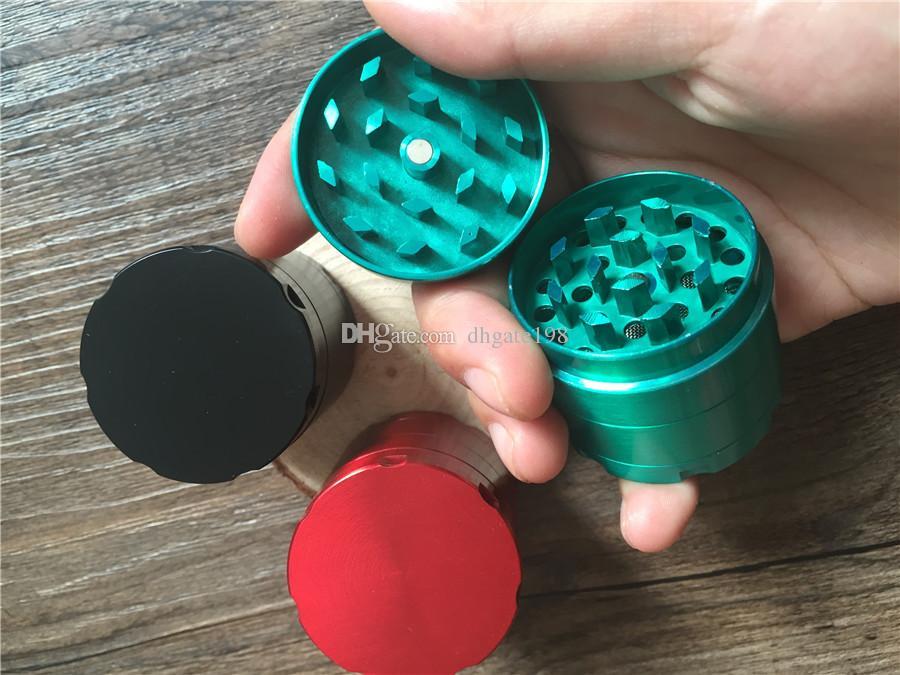Günstige mini 40mm 4 stück metall kraut Mühlen Zinklegierung Tabak kräuter Zigarren kraut gewürz Brecher Maschine Magnet sieb