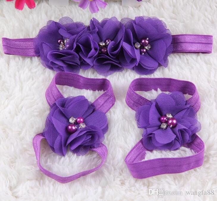 2016 Nouveau bébé pieds nus fleur avec perle pieds cheveux fleur chaussures sandales bébé fleurs pied cheveux accessoires bandeaux ensemble de cheveux