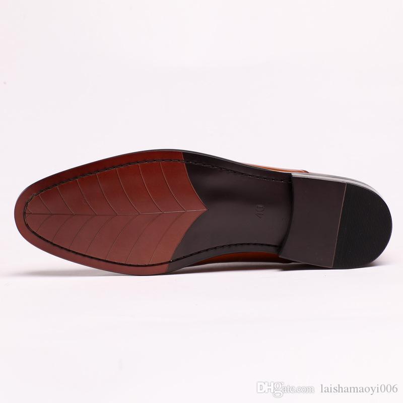 2017 Yeni Moda erkek Elbise Ayakkabı Hakiki Deri Slip-on Elbise Ayakkabı El Yapımı Sigara Terlik Erkekler Flats Düğün Parti Ayakkabı boyutu 37-44