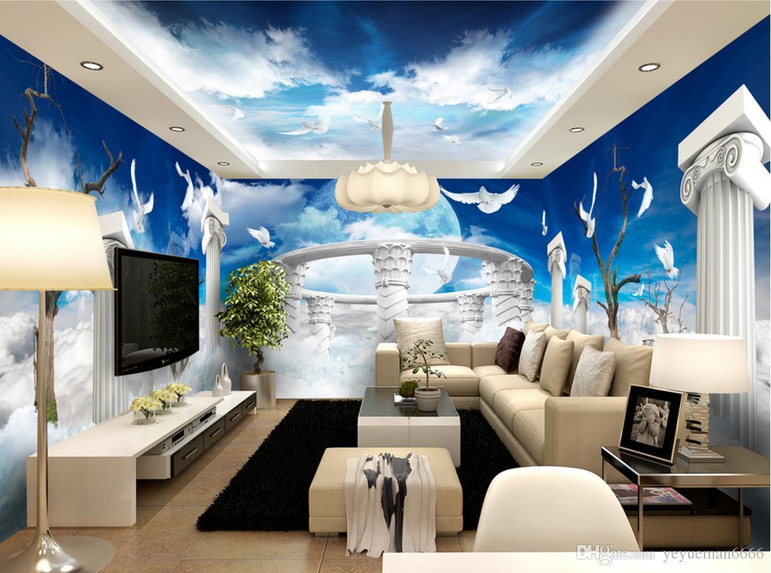 Home Decor personalizzati murale 3D Wallpaper Lavanda cielo azzurro e nuvole bianche 3D contesto del salone TV Camera Papel de Parede