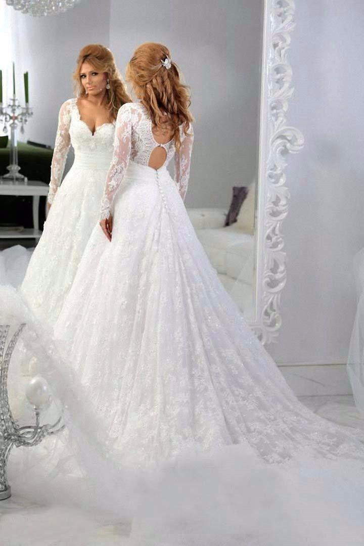 Discount Newest Long Sleeve Transparent Wedding Dress A Line ...