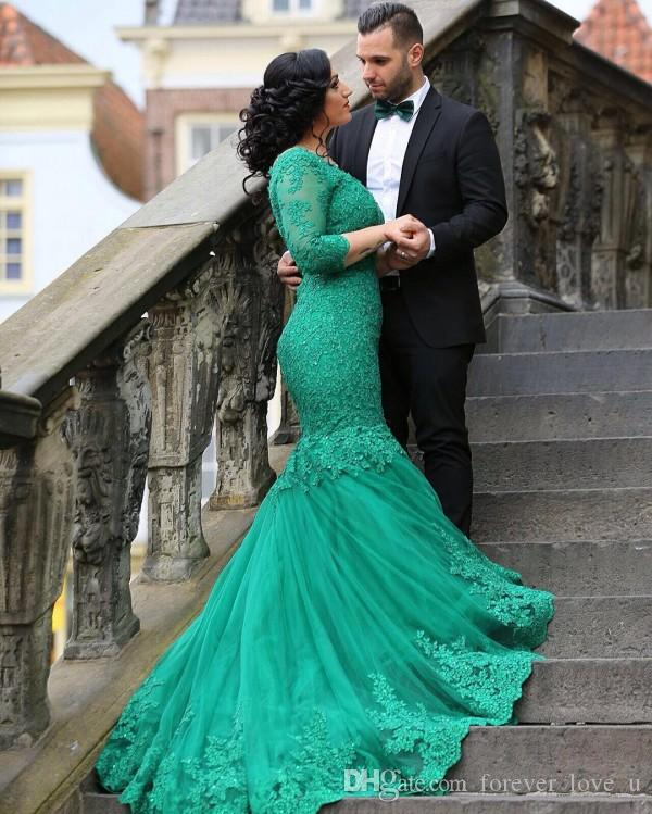 vestidos festa 2017 Arabic Green Mermaid Prom Dresses V Neck Lace Appliques Tulle Evening Gowns with Illusion Sleeves Corset Back