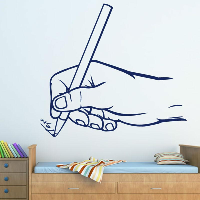 Hand Grip Pen To Writing Wall Sticker Childrens Bedroom Classroom