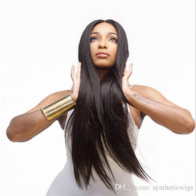 WoodFestival pas cher longue perruque noire droite pour les femmes noires chaleur perruques de cheveux synthétiques résistant 75cm perruques de fibres