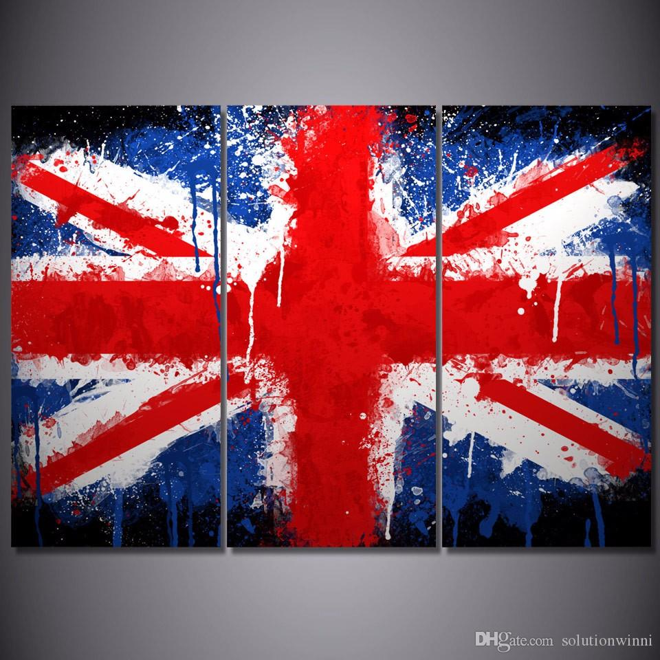 3 Panel HD Printed Union Jack Painting on canvas room decoration print poster picture canvas Free shipping african painted art