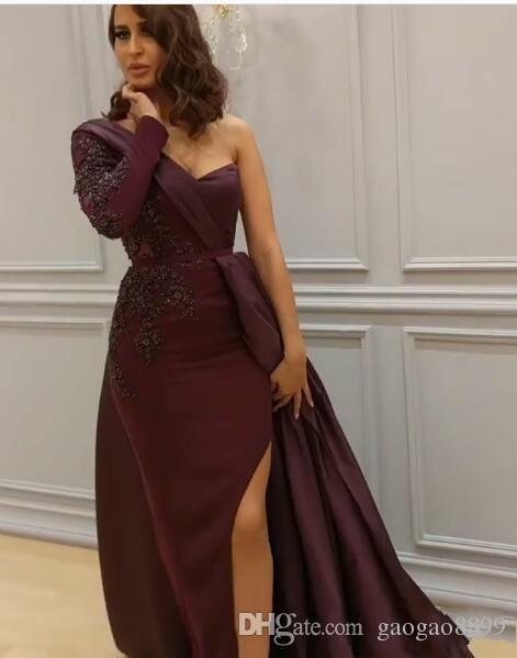 2019 Sexy Arabe Une Épaule Robes De Bal Élégant Bourgogne Manches Longues Fente De Soirée Usure Plus La Taille Robes De Novia Robes Soirée De Soirée