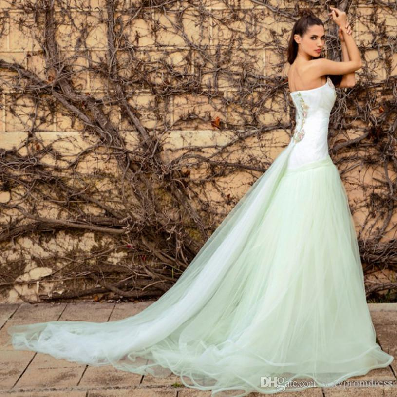 White And Mint Green Strapless Prom Dresses ed Lace Applique Backless Evening Gowns Sweep Train Formal Party Dresses Cheap