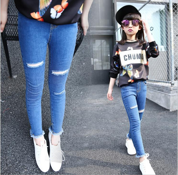 801c77c77d8 2018 Hot Sale Fashion Hole Jeans Pencil Skinny Pants For Children Girls  Autumn Kids Clothes 2 13T Kids Ripped Jeans Red Jeans For Baby Boys From ...