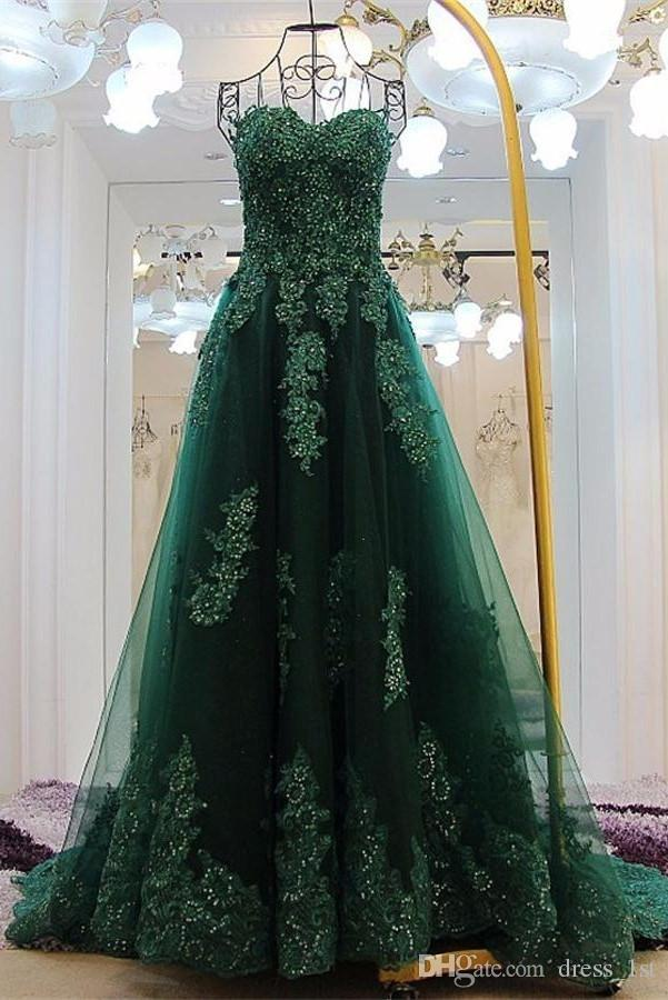 Real Photos 2017 Hunter Green Tulle Evening Gowns Sweetheart Lace Applique With Beads Formal Dresses Custom Made China EN110915