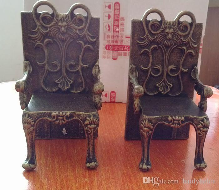 Antique Cast Iron Chairs Shape Bookend Book End High-quality Heavy Metal Home Office Desk Table Decor Study Vintage Crafts Stand