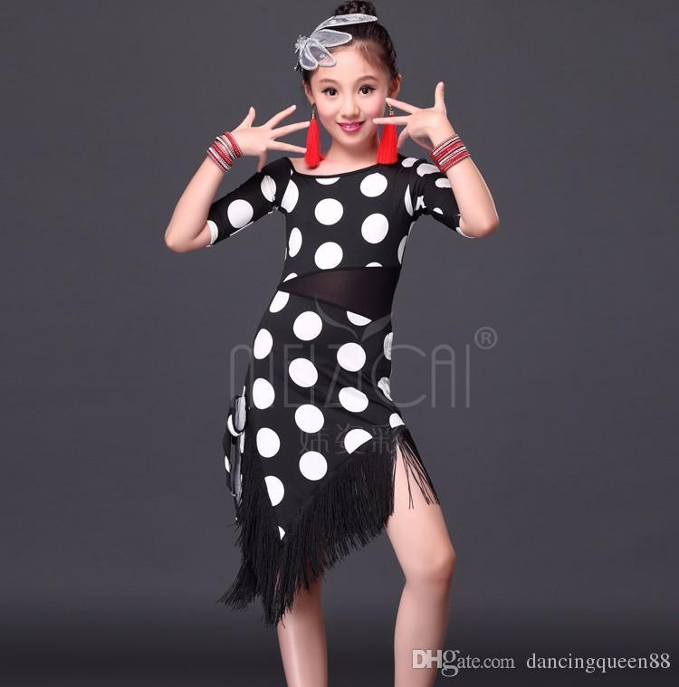 2016 Vestido de Niños Para la Danza Latina Trajes de Niños Vestido de Baile Latino Niñas Vestidos de Baile de Salón Chica Flamenco Dots Dance Faldas