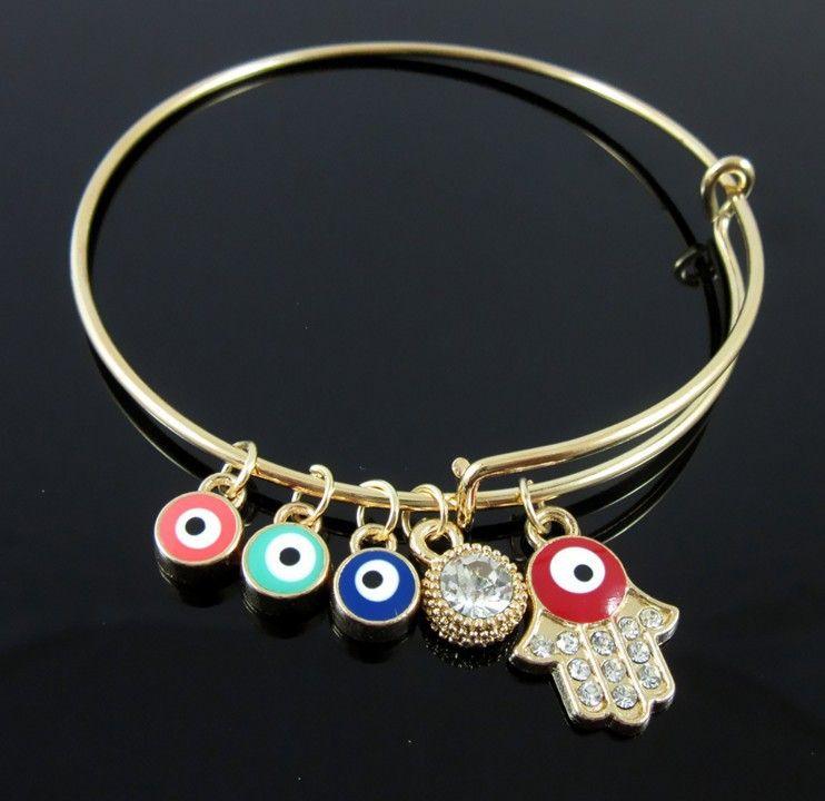 Grado superior Hamsa pulsera brazalete cyrstal Hamsa mano mal de ojo Lucky Amuleto pulsera brazalete de moda joyería de la venta caliente