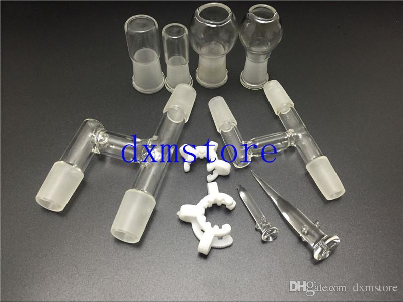 Adaptateur en verre pour récupérateur d'huile18.5mm14.5mm pour conduites d'eau en verre Bangs Livré avec une tête en verre et un clip keck