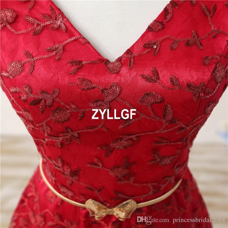 2017 Cheap Dress Red Flower Pattern V-neck Floor Length Zipper Custom Made Dresses Long Evening Dresses Formal High Quality Dresses