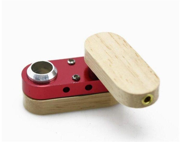 Folding Wooden Pipe Similar as Tobacco Cigarette Monkey Pipe Hand Portable Vaporizer Foldable Wood&Metal Smoking Pipe Free ship
