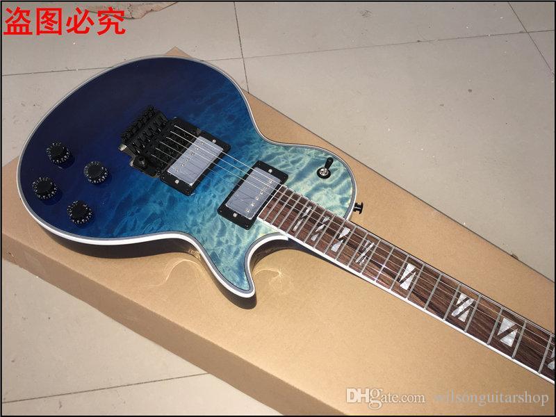 Nuova chitarra elettrica blu CUSTOM SHOP, tastiera in palissandro, foto hardware elettrico reale in cromo, foto reali in vero legno di mogano