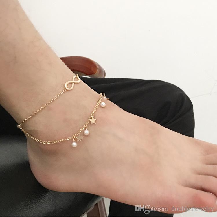 Europa y los Estados Unidos que venden joyas borla estrella doble Pearl 8 personalidad palabra tobillera adornos de pie para fabricante transfronterizo