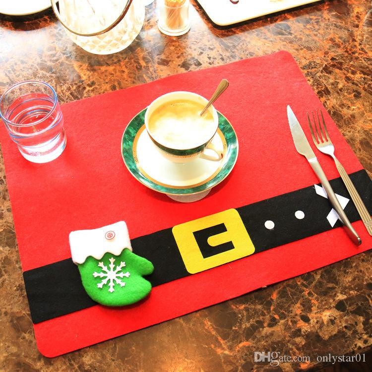 Christmas Knife Fork Mats Placemats for Xmas Dinner Table Décor Non-woven Pats Dining Tablecloth Christmas Party Decoration