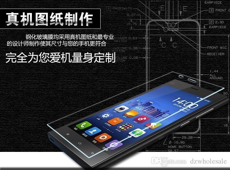 Top Quality 9H 0.26mm HD Premium Vetro Temperato Xiaomi M2S / Mi3 / Mi4 / Redmi2 / Mi Nota / Rosso Mi / Redmi Note Pellicola Schermo 100 Pz / lotto Spedizione Gratuita