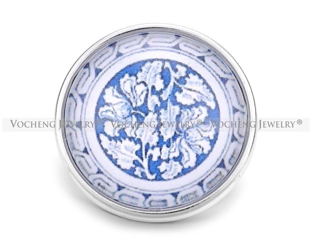 VOCHENG NOOSA Gros 18mm Verre Gingembre Snap Bleu Charme Bijoux Vn-1160