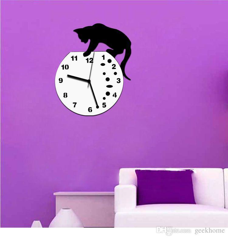 Hot fashion cartoon legal Tom e Jerry 3D Espelho de Parede Adesivo Relógio Relógio Relógio Espelho Home CAT Decoração Da Parede Decalques adesivo de Parede Design Moderno
