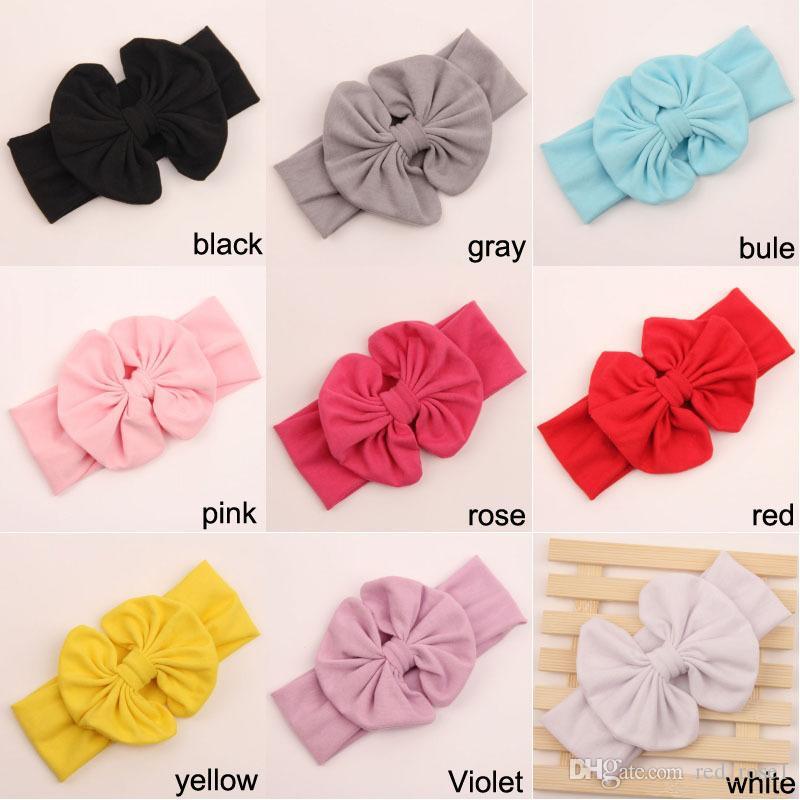 9 Färg Barn Baby Blomma Bowknot Headbands Girls Söt Bow Hårband Spädbarn Härlig Headwrap Barn Bowknot Elastic Tillbehör