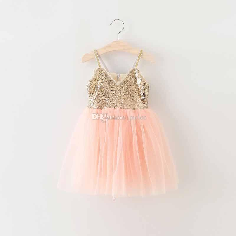 Big Discount INS Summer Girls Sequins princess dress latest summer children sequins lace back suspender tulle tutu dress kids party dress