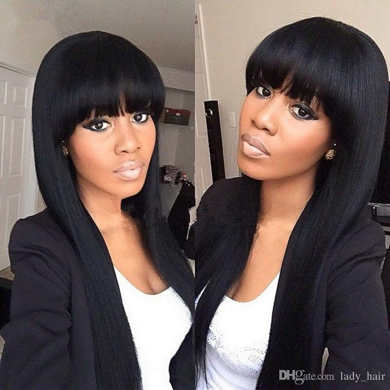 Virgin Brazilian Silky Straight Glueless Full Lace Human Hair Wig With Bangs 130% Density Lace Front Long Wigs With Baby Hair Bleached Knots