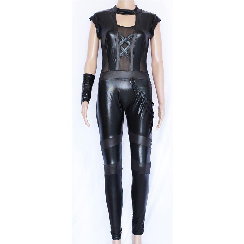 Sexy Catsuit Lingerie Black Faux Leather Long Jumpsuit Transparent Mesh Splice Hollow Out Bodysuit Pole Dance Costume for Women W850349