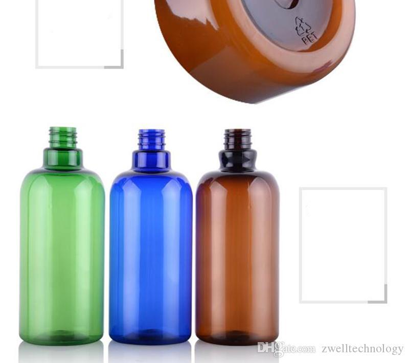 500 ml Leere Kunststoff HAUSTIER Braun Blau Grün Lange Clamshell Hals Flasche Kosmetische Emulsion Verpackungsflasche Nachfüllbar Kostenloser Versand