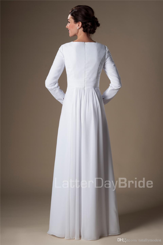 Simples Branco Chiffon Templo Mangas Compridas Mangas Vestidos de Casamento A-line Até O Chão Informal Recepção Nupcial Vestidos Vestido de Jantar de Ensaio