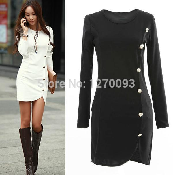 2016 Spring Autumn Warm Dress Women Cotton Bottomed Winter Dress ...