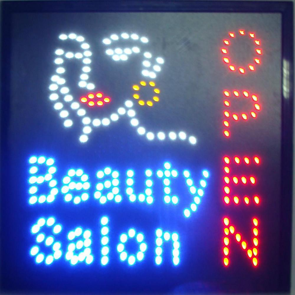 Sıcak satış Güzellik Salonu mağaza LED Açık Işaretleri 19x19 inç spa kuaför çivi dükkanı yüz dükkanı neon burcu led reklam panoları Toptan