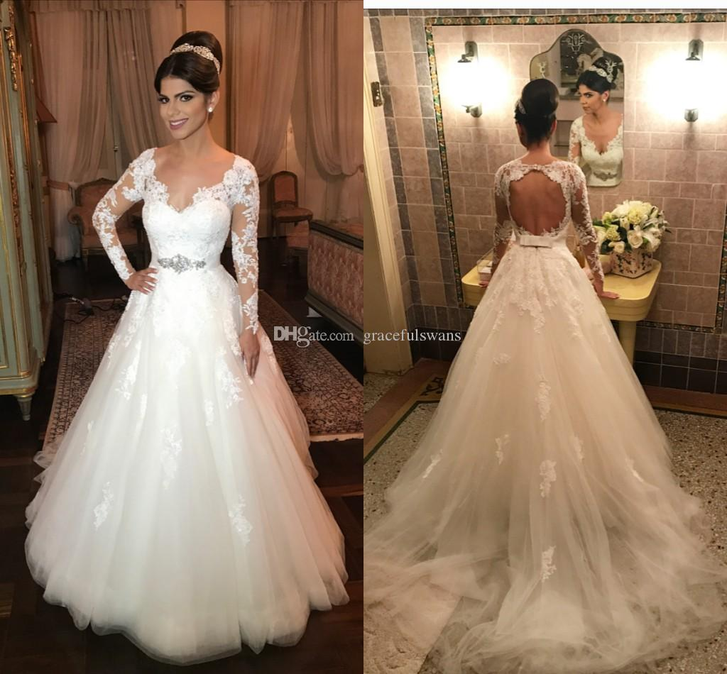 Open Back Long Sleeve Wedding Dresses V Neck A-Line Lace Wedding Gowns with  Appliques Belts Waist Elegant Bridal Dresses Bruiloft Lace Wedding Dress  Vestido ... 5777dcca31d8