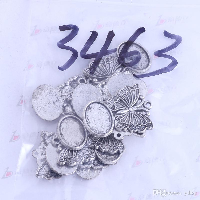 La plata antigua 29.3 * 21.6mm mariposa encantos de base de corcho diseño oval de la vendimia / de bronce de aleación de zinc de bricolaje colgante encantos de la joyería / 3463