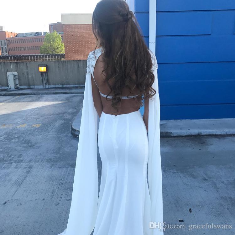 Sparkle White Robes de soirée pour femmes Kaftan Sleeve Robes de soirée africaines avec des perles lourdes Voir que taille robes de soirée sirène