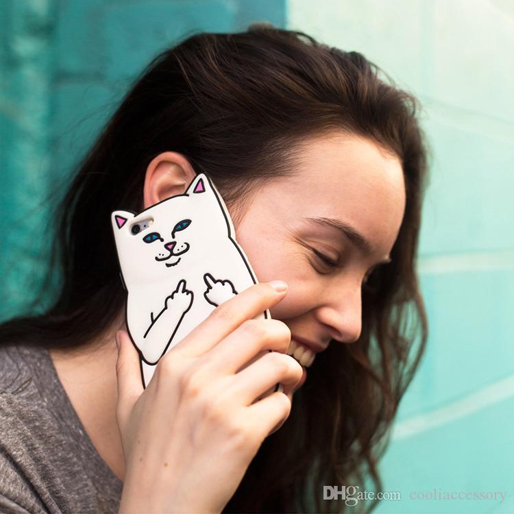 3D Ripndipp Pocket Cat Cartoon Soft Silicone GEL Case For IPhone X 8 I8 7 Plus 6S SE 5S 4 4G 4S Ipod Touch 5 6 Middle Finger Capa Skin Cover