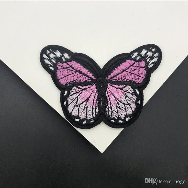 7.6x4.2cm Han Noble Mariposa de hierro en parches para la ropa para la ropa Bordados Apliques Azul Rosa Rojo Violeta Naranja