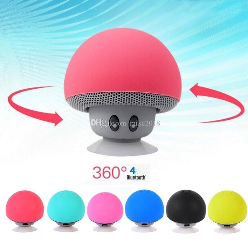Sans fil Bluetooth Mini haut-parleur Champignon Étanche Silicium Aspiration Mains Libres Titulaire Musique Player pour Iphone 4 4S 5 5c 5S SE 6 6S