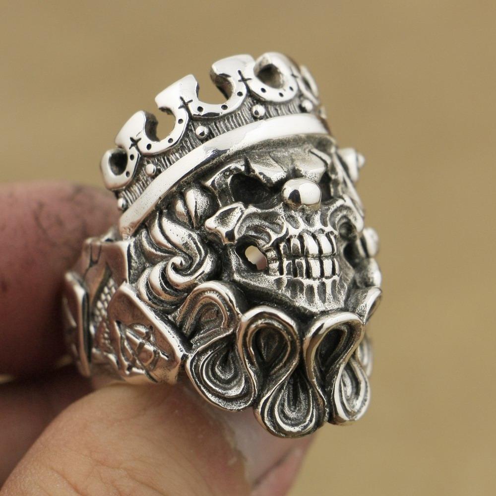 LINSION Handmade 925 Sterling Silver Coringa Do Crânio Do Palhaço Mens Biker Do Punk Anel TA70 EUA Tamanho 7 a 15