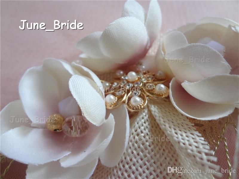 New Arrival Romantic Bridal Hair Flower Real Photo Gold Cream Pink Handmade Flower Hot Crystal Wedding Accessory Headpiece