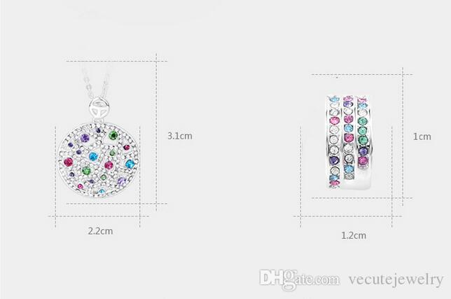 New 18K White Gold Plated Hollow out Round Pendent Austrian Crystal Necklace Earrings Jewelry Sets for Women made with swarovski elements