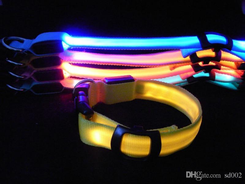Luminous Nylon Pet Necklet Flache Faser LED Leuchten Hundehalsband Sicherheit Doppelseiten Transluzente Haustiere Chaplet Für Outdoor 3lh B