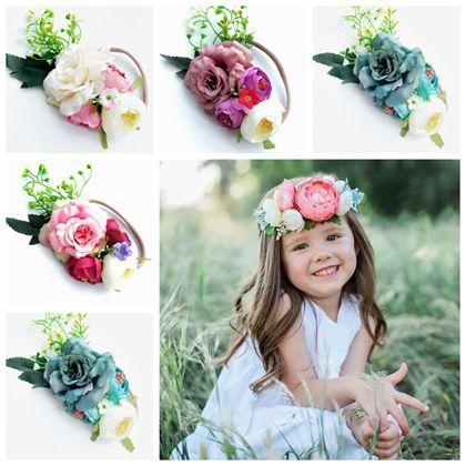 Fake artificial flowers baby headbands for girls silk flower hair fake artificial flowers baby headbands for girls silk flower hair accessories kids elastic nylon hairbands newborn photography props holiday flower hair mightylinksfo