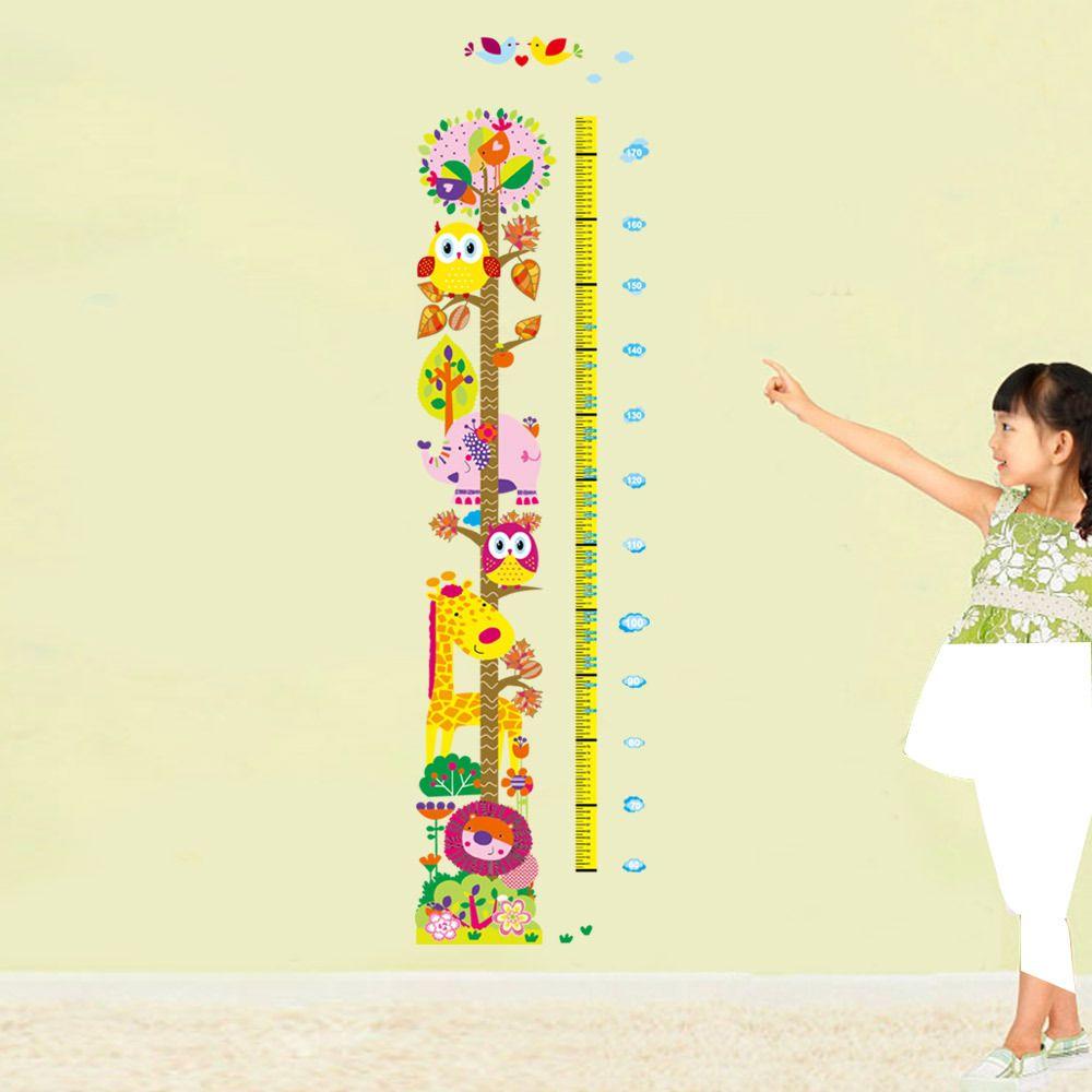 Cartoon Animals Giraffe Owls Elephant Lion Colorful Tree Wall Decals Kids Boys Girls Height Measurement Stickers Growth Chart Wallpaper Art