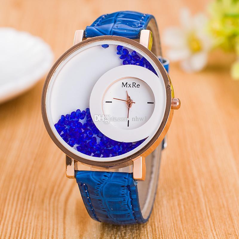 Nuovo arrivo lusso PU cuoio Quicksand orologio da donna con strass orologio al quarzo donna orologi regalo donna regalo