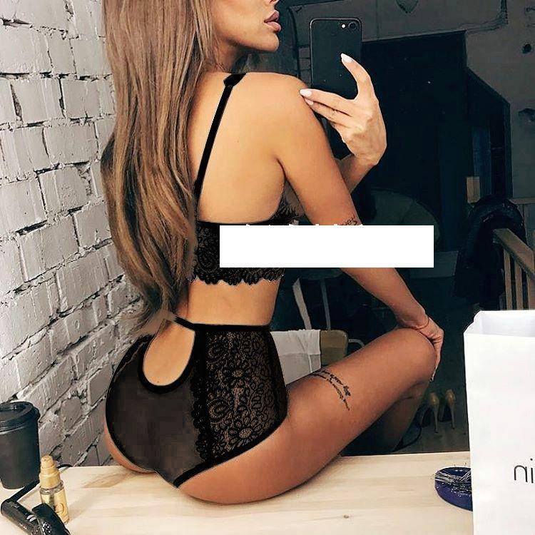 New Fashion Women Black Sexy Push Up Lace Trim Bralettes Semi-sheer Underwear Lingeries Soft Thong Panties Bra Set