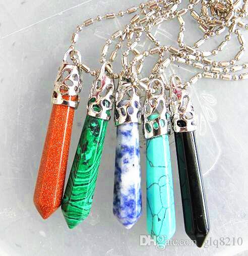 Ciondolo esagonale della collana a forma di pallottola di pietra naturale di cristallo Amanti alla moda dei gioielli Prezzo di fabbrica personalizzato Mescolare colore