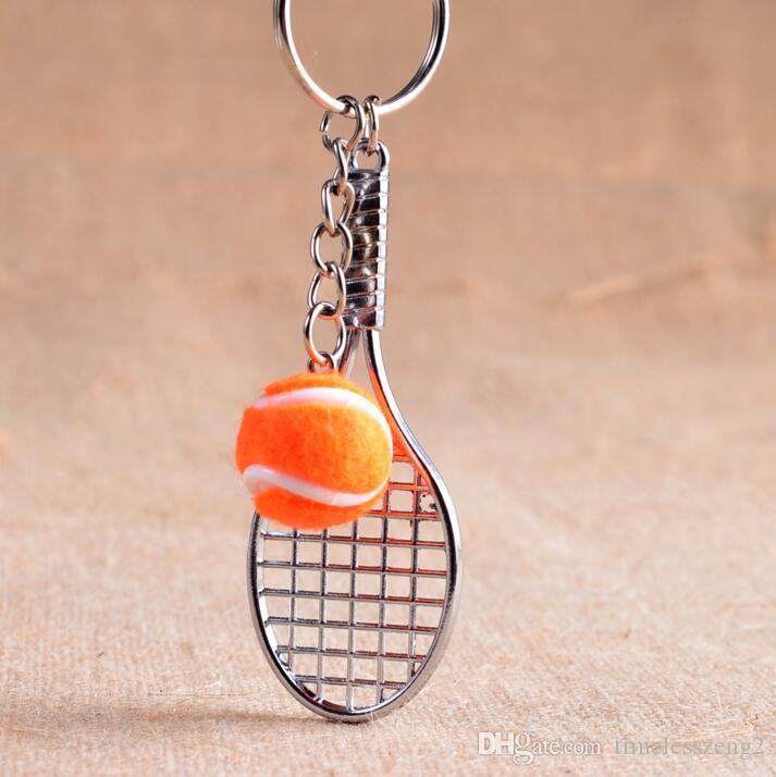 Серебряная теннисная ракетка с мячом брелок многоцветный теннисный мяч брелок творческие теннисные болельщики портативные аксессуары