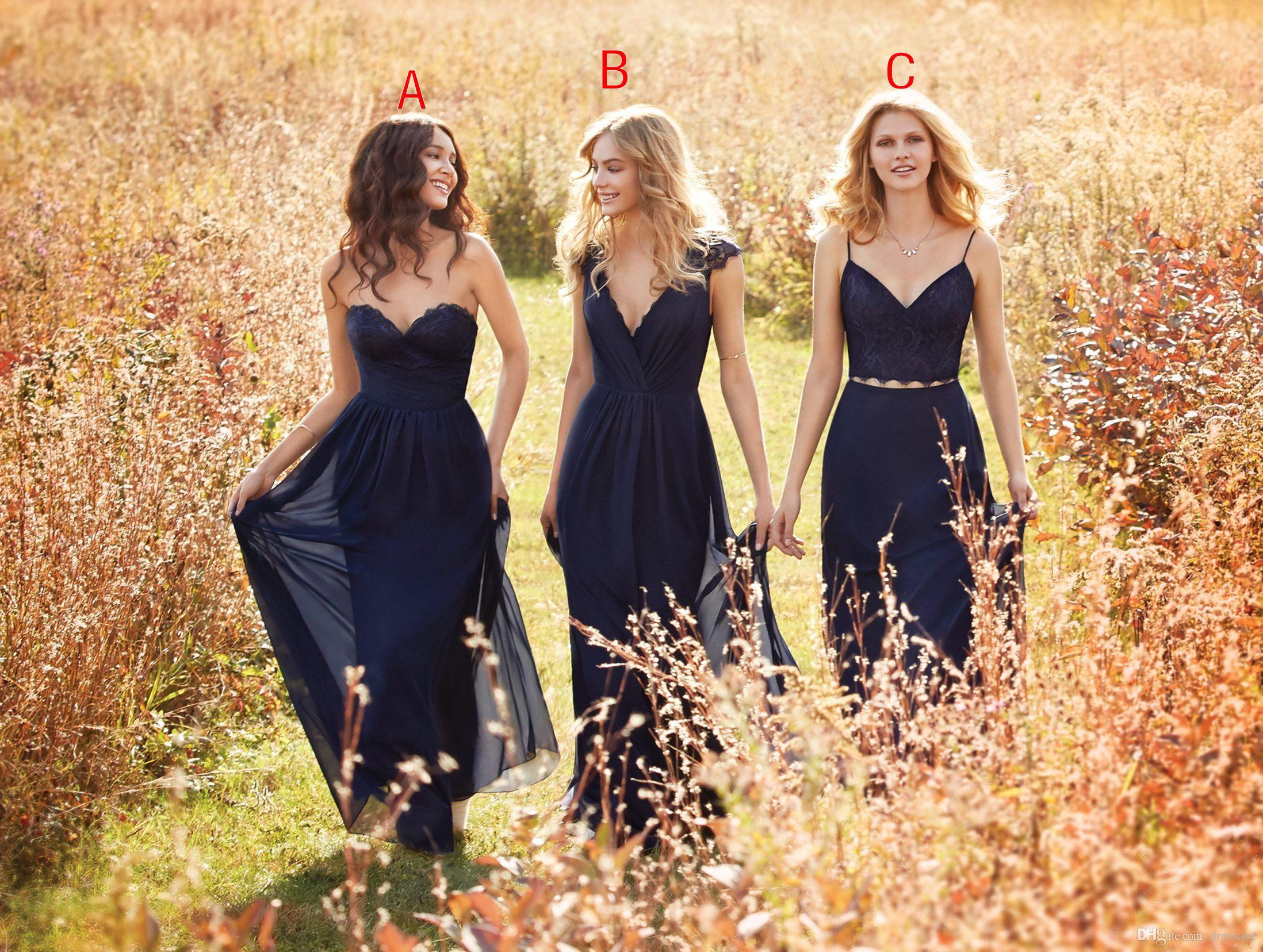 Vintage navy blue a line chiffon long bridesmaid dresses cheap vintage navy blue a line chiffon long bridesmaid dresses cheap 2017 hayley paige sweetheart two pieces bridesmaids prom dresses evening dresses navy blue ombrellifo Image collections